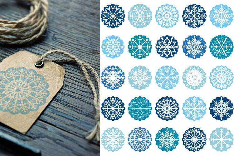 Blue Snowflake Ornaments, Christmas Scalloped Circles