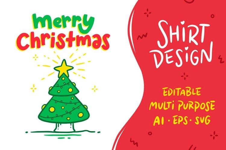 Christmas Shirt Design with Tree, Multipurpose & Editable
