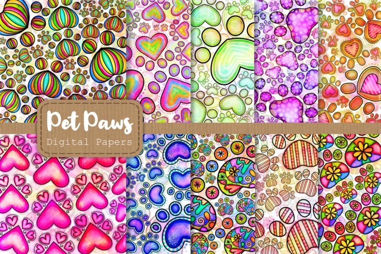 Shabby Chic Doodle Paw Print Papers & Overlays example image 1