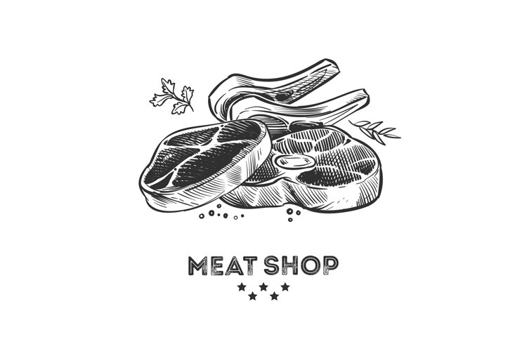 Meat products, fresh beafsteak and ribs hand drawn vector il example image 1