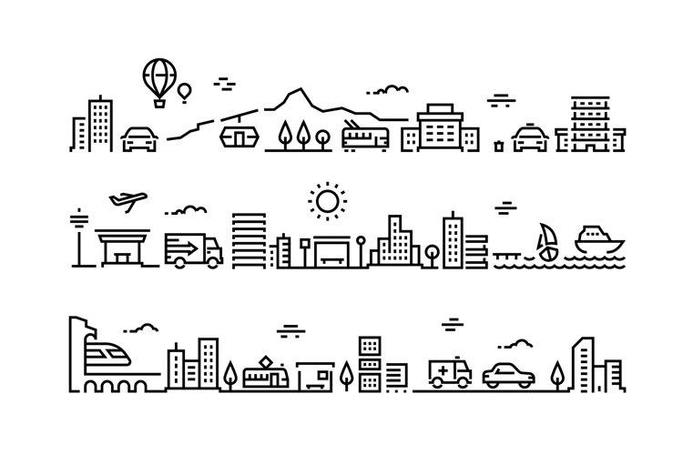 City line landscape. Office buildings urban house public env example image 1