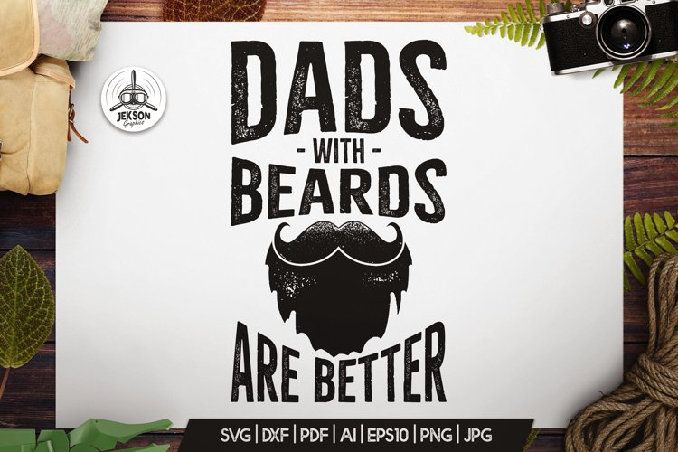 Retro Beard Dad Print / Vintage Fathers Day TShirt SVG File example image 1