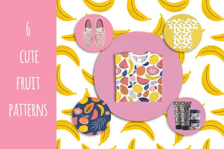 six cute tropical fruit patterns