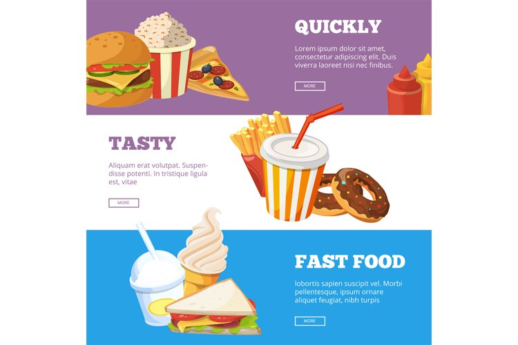 Three horizontal banners of fast food vector illustrations w example image 1