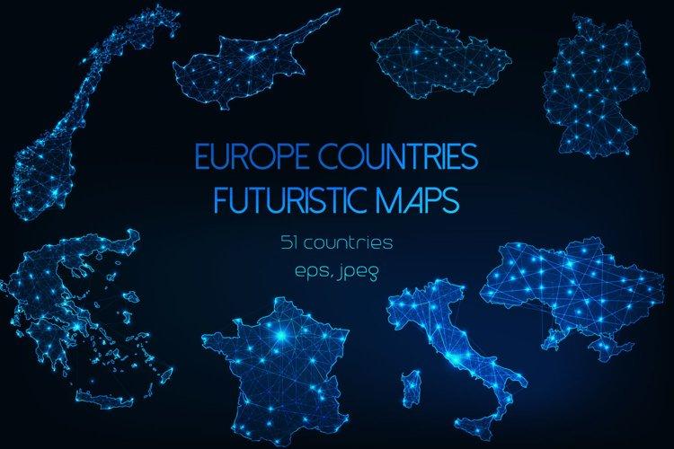 Europe countries futuristic maps. example image 1