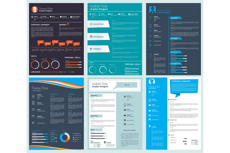 Vector design template of business CV, curriculum vitae example image 1