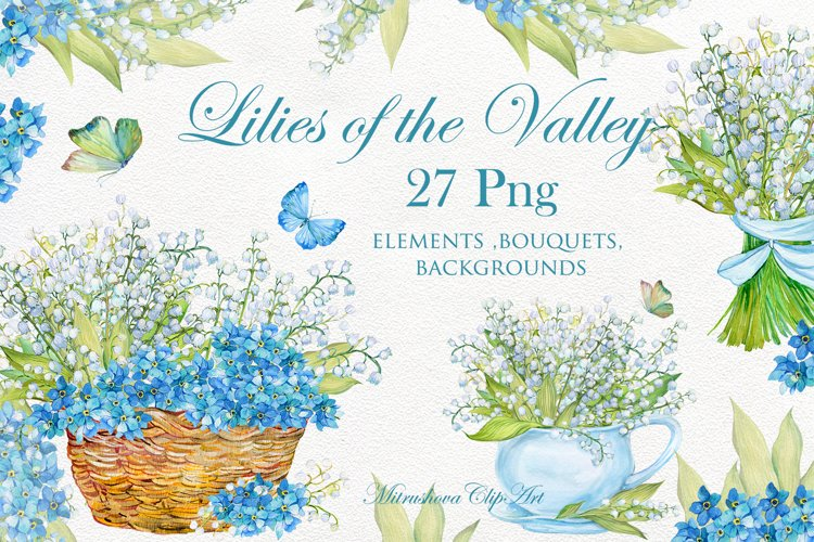 Lilies of the valley watercolor clipart elements, bouquets,