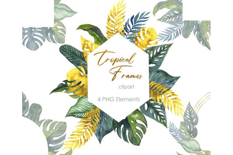 Watercolor clipart. Floral Frame sublimation tropical