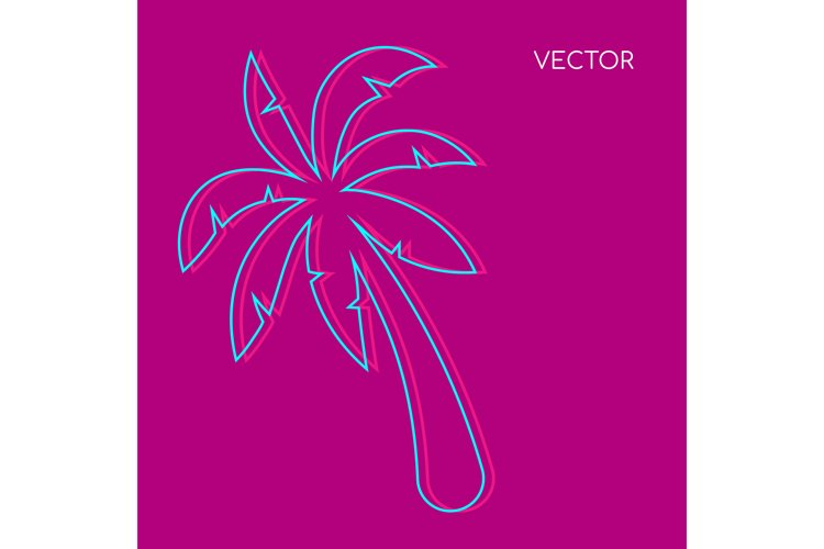 Palm tree flat color vector background example image 1