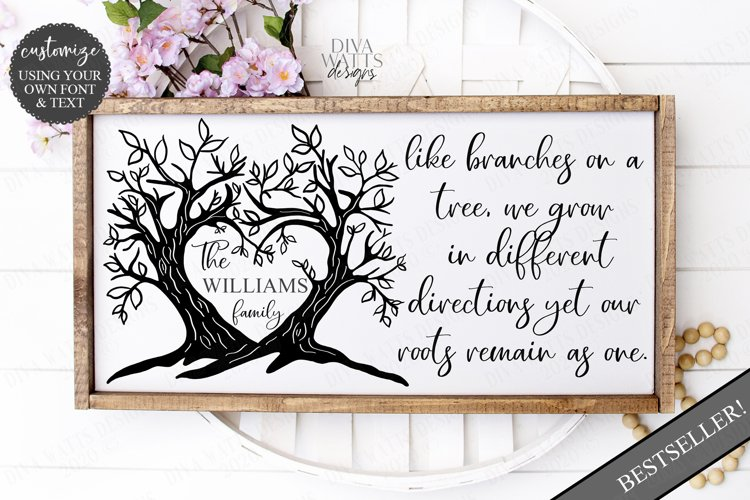 Branches on a Tree Family Last Name Sign Cutting File