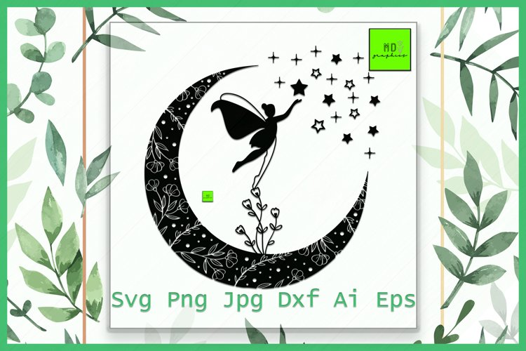Fairy SVG, Moon svg, Fairy Moon svg, Magical svg, clip art example image 1