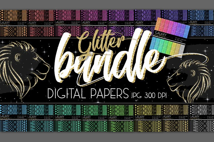 Digital Paper Bundle, 208 Coloured Glitter Digital Papers example image 1