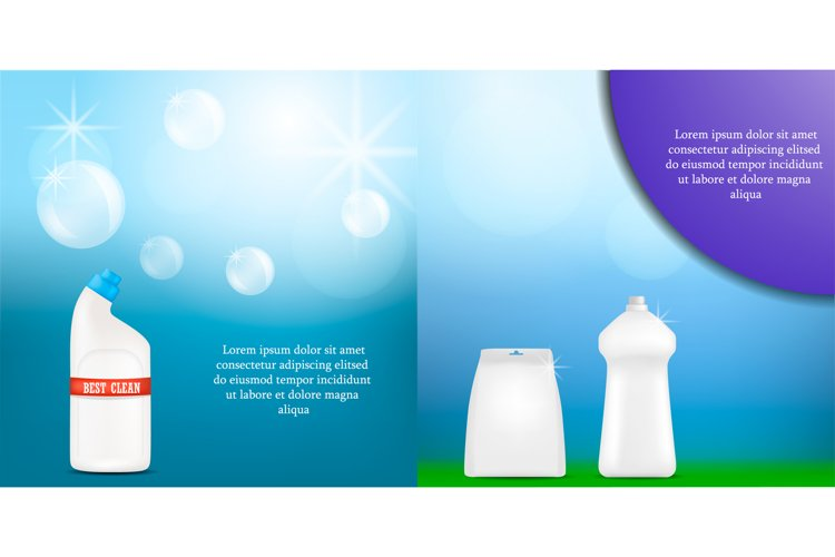Detergent bottle clean banner set, realistic style example image 1