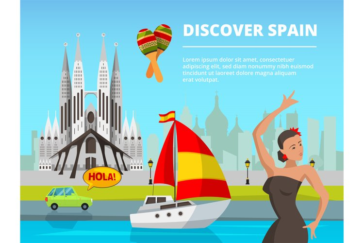 Urban landscape of spain. Vector illustrations in flat style example image 1