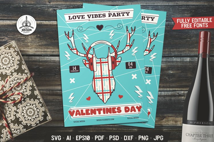 Download Valentines Svg Card Party Flyer Love Vibe Print Template Dxf 1105490 Card And Invites Design Bundles