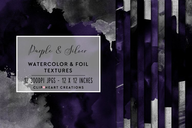 Purple & Silver Watercolor and Foil Papers example image 1