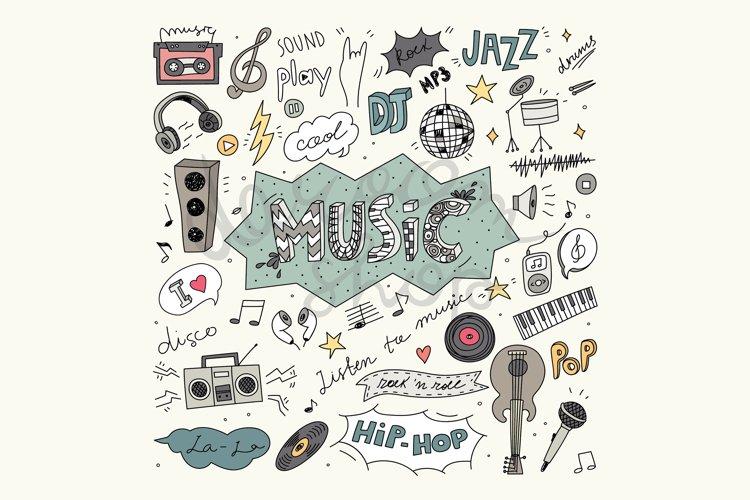 Digital Music Clip Art, Vector Illustration, Music Doodles example image 1