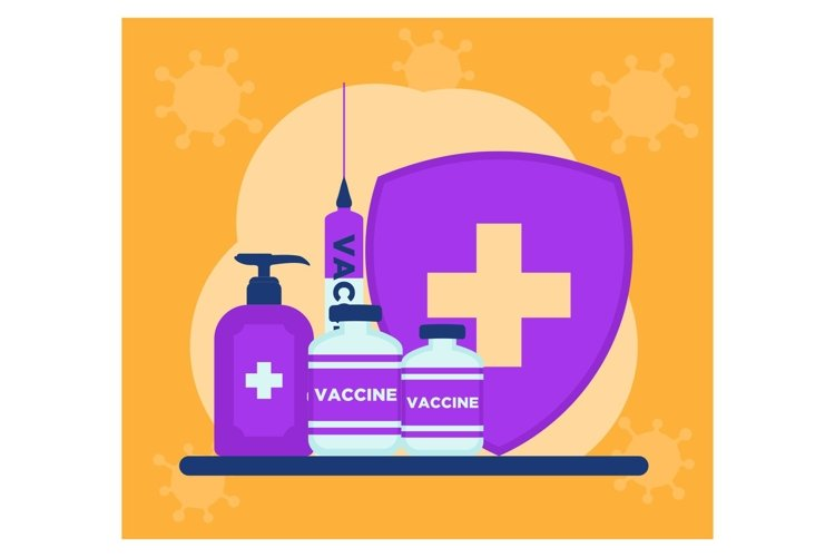 Vaccine and medical in flat design example image 1