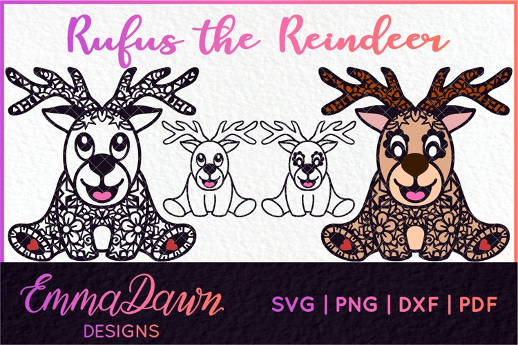 RUFUS THE REINDEER SVG CHRISTMAS MANDALA ZENTANGLE DESIGNS example image 1