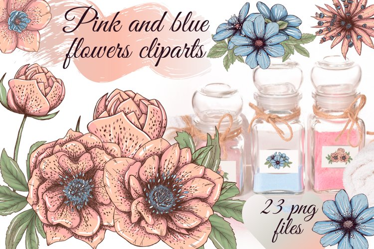 Pastel pink and blue flowers clipart, summer floral png example image 1