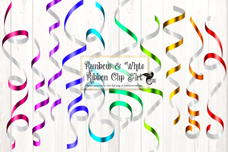 Rainbow and White Ribbon Clipart