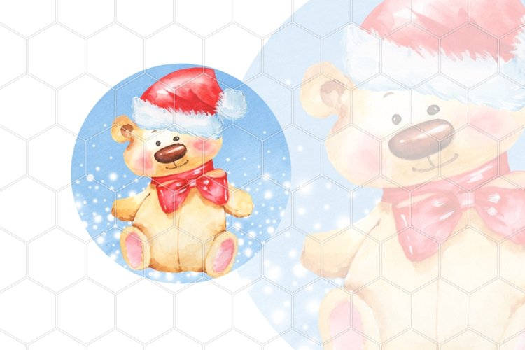 Christmas Teddy bear. Watercolor