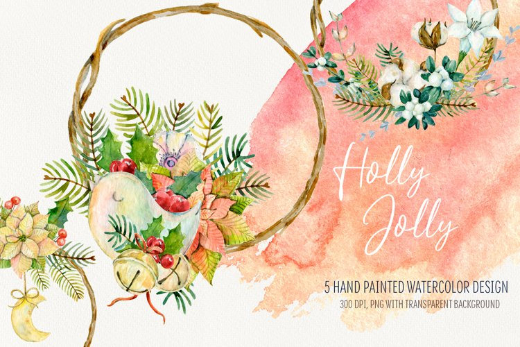Watercolor Christmas arrangements. Winter cliparts example image 1