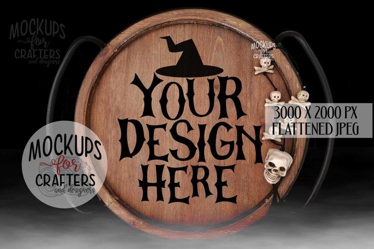 Round Wood Tray, Halloween, Black background & fog, Mock-Up example image 1