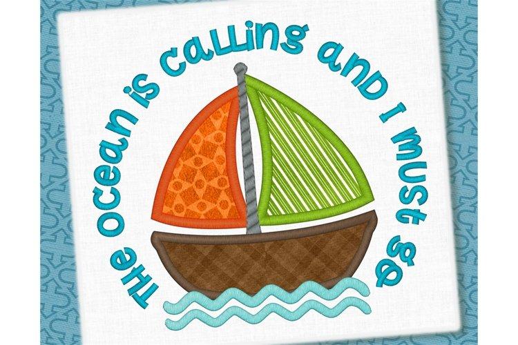 The Ocean is Calling Sailboat Applique Design 1273 example image 1