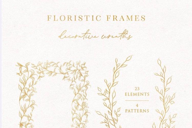 Line Drawn Golden Floristic Wreaths Sprigs botanical clipart example 1