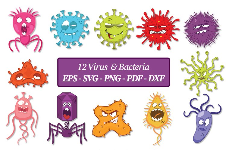 Virus and Bacteria Clip Art   Vector files example image 1