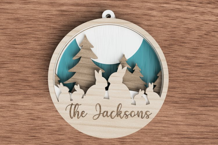 Christmas ornament laser cut file - Bunny family of 6 example image 1