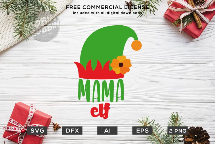 Mama Elf Christmas Design SVG DXF example image 1