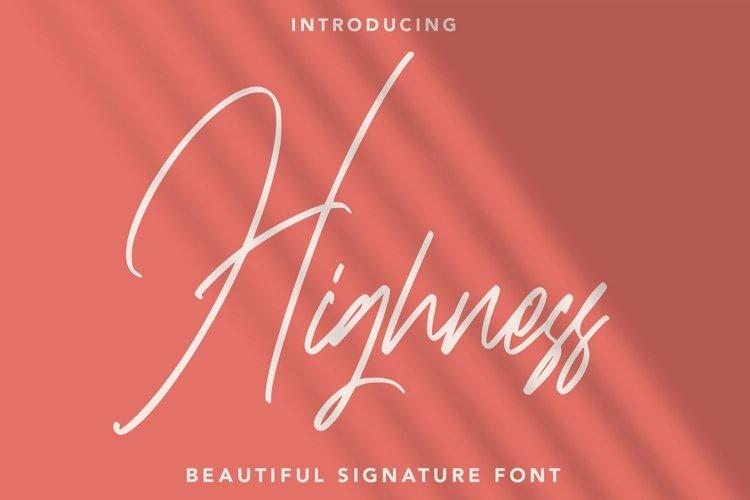 Web Font Highness - Signature Font example image 1