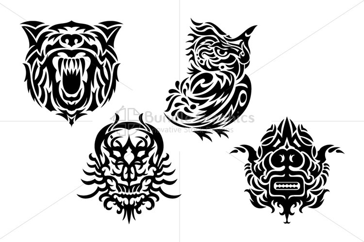 Tribal Style Vector Set of 4 Graphics - Tiger, Owl, Skull, Mask  example image 1
