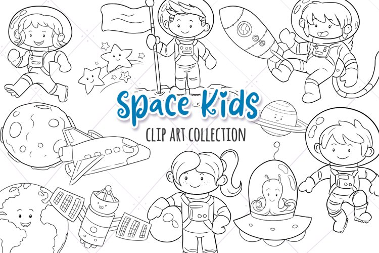 Space Kids Science Digital Stamps example image 1