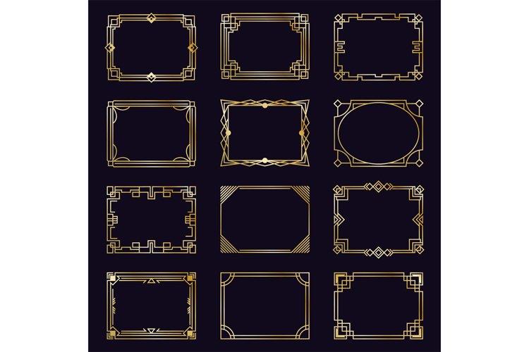 Golden art deco frames. Modern gold elegant borders, arabic example image 1