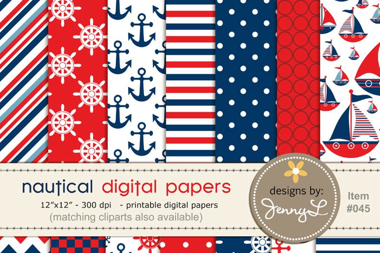 Nautical Sailing Boy, Red & Blue Digital Papers  example image 1