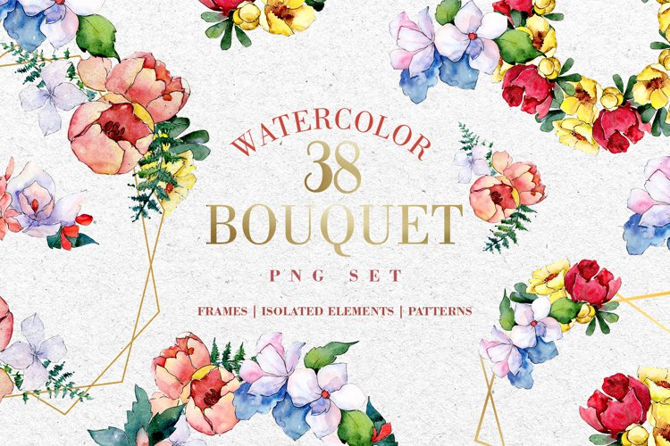 Bouquet touching feelings Watercolor png example image 1