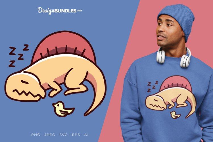Sleeping Dinosaur Vector Illustration For T-Shirt Design