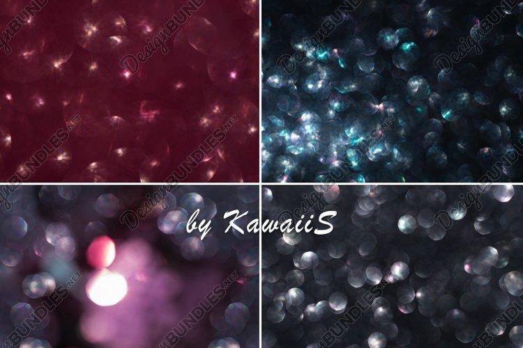Shiny neon sparkling defocused real bokeh lights 4 photo set