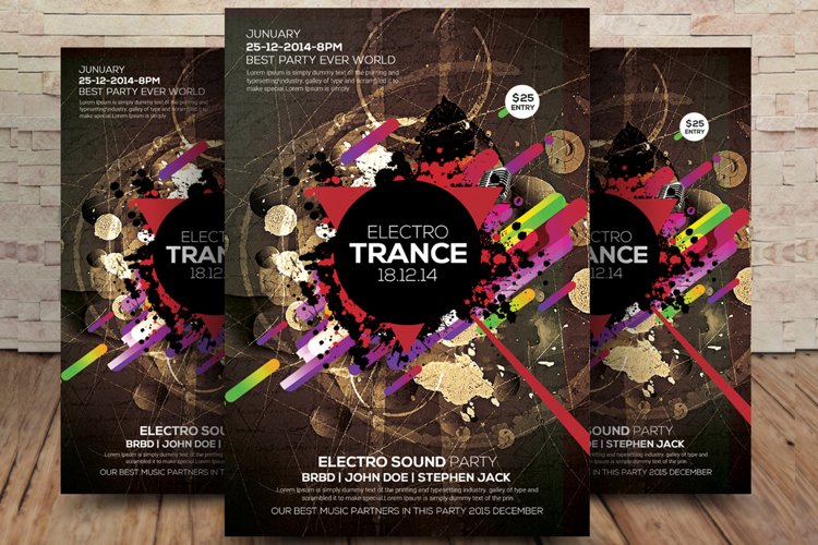Electro Trance Music Flyer example image 1