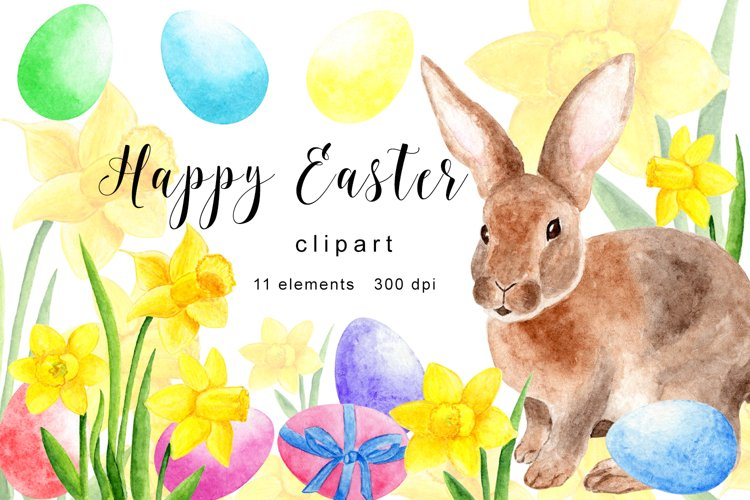 Happy Easter Clipart, Watercolor Easter Clipart, Easter PNG