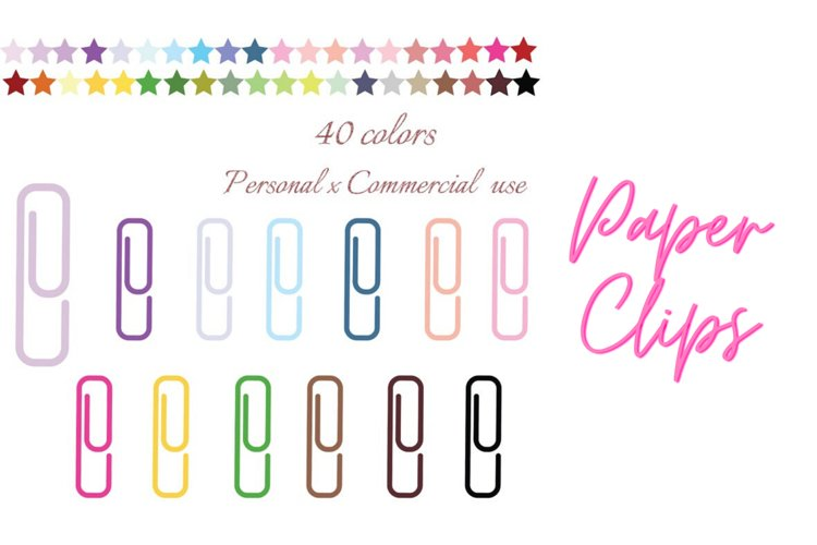 Rainbow Paper Clips, School Supplies Clipart, Paper Clip