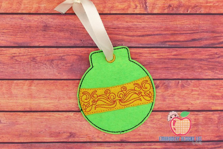 Swirl Christmas Ball Ornament Embroidery example image 1