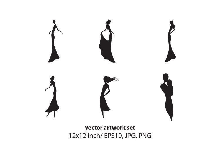 Lady - vector artwork set example image 1