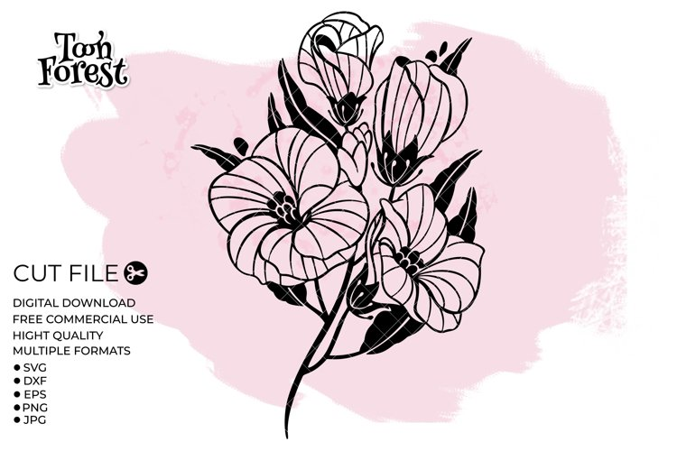 Wildflower SVG, DXF, EPS, and PNG Cut Files