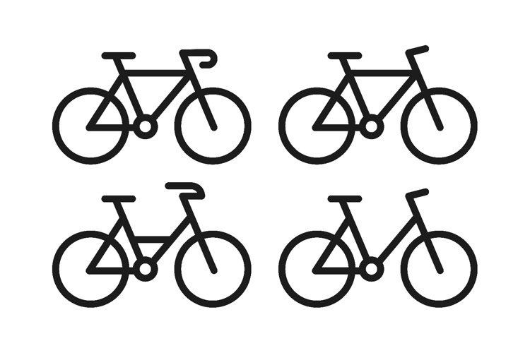 Bike icon set with line and black color vector example image 1