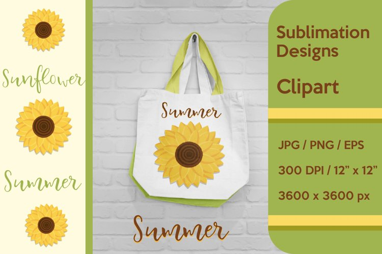 Sunflower Summer Sublimation and Clipart example image 1
