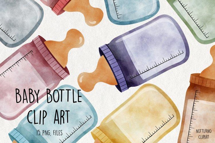 Watercolor Baby Bottle Clipart. Bottle graphics